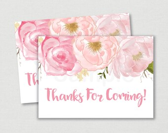 Pink Floral Bridal Shower Favor Tags / Floral Thank You Tags / Floral Bridal Shower / Watercolor Floral / Printable INSTANT DOWNLOAD B108
