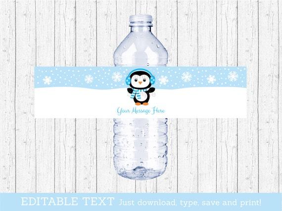 cute penguin water bottle labels    penguin baby shower    blue