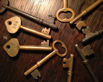 Antique Skeleton Keys - Set of 9