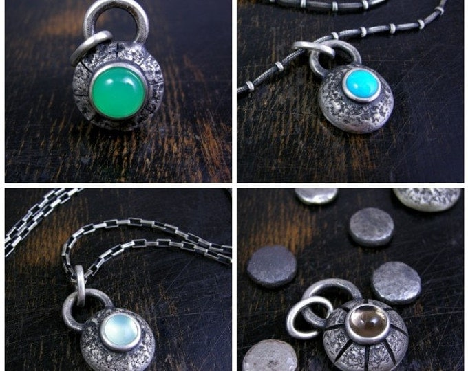 Pick a stone Space Nugget pendant made to order chunky sterling silver with a deep patina