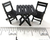 KIT Bistro Table and Chairs kit printed in 3D printed in Black or Brown Quarter Scale 1:48
