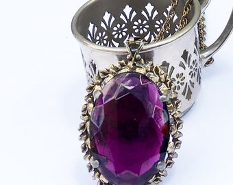 Art Deco Vintage Amethyst Glass Pendant - Purple Glass Pendant Gold Tone Pierced Floral Setting with Chunky Chain