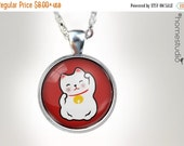 HALF OFF Sale - Lucky Cat RED : Glass Dome Necklace, Pendant or Keychain Key Ring. Jewelry 50% off Black Friday Cyber Monday gift present