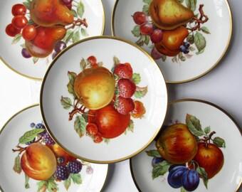 Vintage Salad Plates Mitterteich Fruit German Set of Five - Cottage Chic