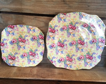 Set Royal Winton Welbeck Chintz Salad and Bread & Butter Plate 1995
