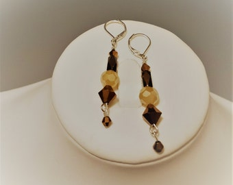 Copper Bicone Crystal Earrings