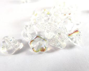 20 Crystal AB Czech Glass Clear Bell Flower Beads 8x5mm - 20 pc - 6532