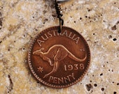 Coin Key Ring Keychain Australia Kangaroo 1938 Australian Key Fob by Hendywood