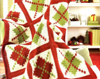 Custom Crocheted Argyle Christmas Afghan Gift Present Christmas Birthday Mothers Day Wedding Graduation Made to Order 6-8 weeks Delivery