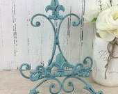 Cast iron Fleur De Lis Metal Easel , painted table top easel, photo display, sign holder, book &cookbook stand, cottage chic, French country