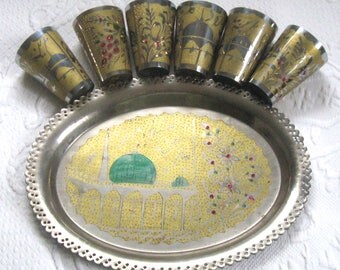 metal tumbler . lemonade cups . juice cups .  6 metal cups with tray . Turkish cups and tray