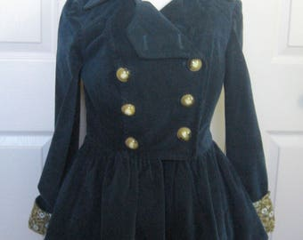 Peplum Jacket . 20s Style Jacket . velvet peplum jacket . Anthropologie . riding jacket . blue velvet jacket