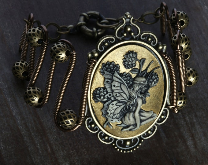 Fairy bracelet, Golden Fairy Cameo, Neo Victorian Steampunk style jewelry