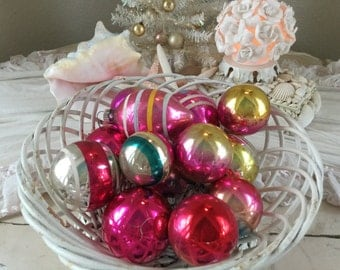 Vintage USA Christmas Ornament Balls and bells Set of 13 Shiny Brights Hot Pink