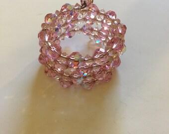 Vintage Pink Crystal Bead Bracelet