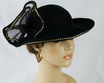 Vintage Hat Dark Green Wool Curled Brim with Gold Braid - Church Lady Hat Sz 21 1/2