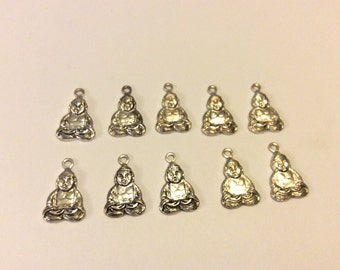 10 Silver Plated Buddha Charms