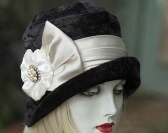 Hat 20s Cloche Downton Abbey Designer Handmade Great Gatsby Black Crushed Velvet