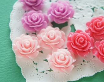 12 pcs Glossy Beautiful Rose Cabochon (18mm19mm) FL451