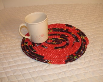 Mug Rug Cozy Coaster Coffee Cup-----Red and Black Fabric-----Ready to ship