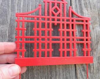 Miniature Garden Chinese Trellis, Asian-Style Mini Garden Trellis Staked, Customized for the Living Miniature Garden, Hand Painted, OOAK