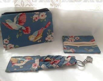 Make Up Bag, Keyring and Pocket Tissue Case Handbag Gift Set made from Blue Floral Cotton Fabric, Women Gift Set