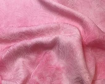 "Hand Dyed Bubblegum Pink PAISLEY - Silk Jacquard Fabric - 9""x22"" remnant"
