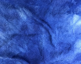 Hand Dyed Lapis Blue PAISLEY - Silk Jacquard Fabric - 1 Yard
