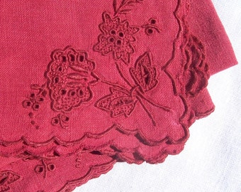 Vintage Italian Linen RED RETICELLA  5 napkins luncheon