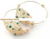 Holiday Sale - Wire crochet jewelry Turquoise jewelry, big gold hoop earrings, hippie earrings Turquoise Earrings , anniversary gifts