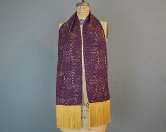 Vintage Burgundy & Gold Fringed Scarf, 1960s Rayon, Men's Long coat scarf