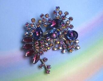 Vintage 50s Large Glitzy Pin Purple Aurora Borealis Rhinestones