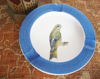 vintage bird ashtray bowl french guillot hand painted stoneware