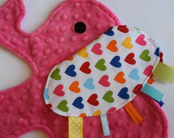 Spree Heart Pink Elephant Shaped Blanket Sensory Lovey - Icing On The Cupcake