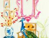 Art Print, Furniture, Peacock, Chinoiserie Interior, Bright Colors, Orchids, Interior Scene, Ginger Jar