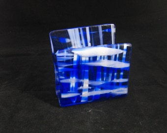 Fused Glass Napkin Holder, Kitchen Sponge Holder,  Letter Holder, Mail Holder, Desk Organizer