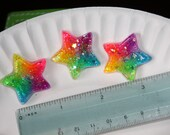 8 Pcs. Rainbow Glittery Star Buttons with Wee Stars Inside - Custom Made to Order