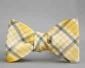yellow windowpane bow tie  //  self tie bow tie for men  //  yellow & grey plaid bow tie