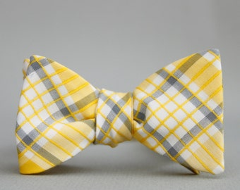 yellow windowpane bow tie  //  self tie bow tie for men  //  yellow & grey plaid bow tie