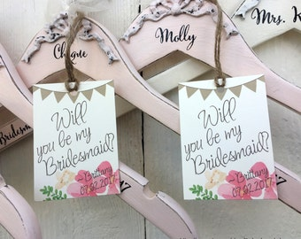 Bridal Party Hangers, Bridesmaid Hanger, Flower Girl Hanger, Maid of Honor Hanger, Personalized Hangers
