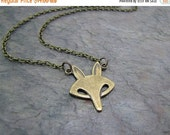 SALE Fox Necklace, Retro Fox Necklace, Brass Fox Necklace