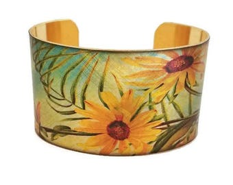 Daisies Yellow Daisy Butterfly adjustable cuff bracelet Vintage style brass Gifts for her aluminum