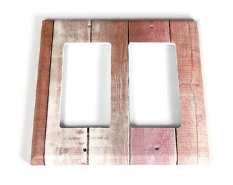 Double Rocker  Switchplate  Light Switch Cover  Switch Plate in Pink Barnwood  (283DR)