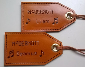Personalized - Surname First, Leather Luggage Tag with privacy flap on reverse side