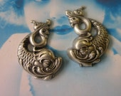 Sterling Silver Ox Plated Koi Fish Stampings Facing Each other 120SOX x2
