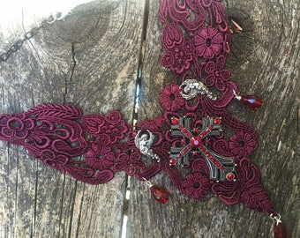 Bib Necklace Wine Red Lace Choker Steapunk Victorian Renaissance Gothic Fantasy Cross and Angels with crystals