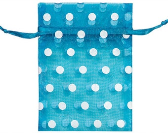 CLEARANCE 10 Pack Sheer Teal Organza Drawstring Bags  2.75 X 4 Inch Size Great For Gifts polka dot style