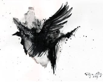 Abstract crow painting - Ink on 8x12in canvas, A4, 20x30cm - ink painting