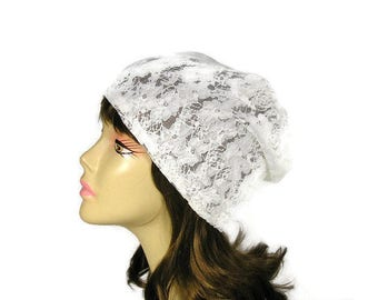 Off White Lace Slouchy Beanie Lace Slouch Hat Lace Hats Off-White Lace Turban Summer Slouchy Beanie Spring Hats White Lightweight Boho Hat