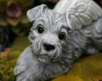 Miniature Schnauzer Dog Angel Statue - Pet Memorial - Concrete Garden Decor